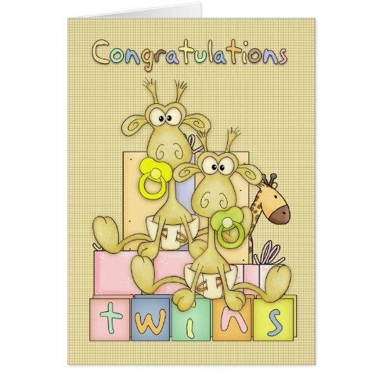 Congratulations Birth Of Twins Card - Cute Card