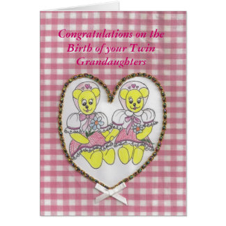 Congratulations  birth of your twin grandaughters card