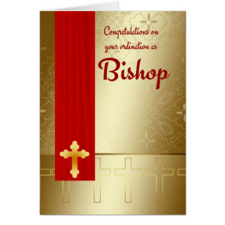 Congratulations Bishop Ordination In Red And Gold Greeting Card