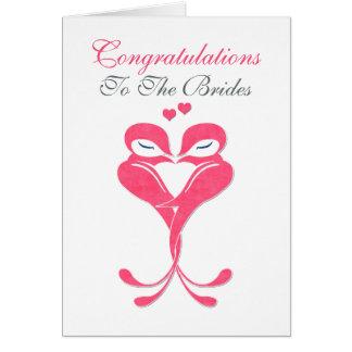 Congratulations Brides Love Birds Lesbian Wedding Greeting Cards