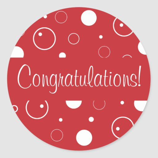 Congratulations Bubbles Envelope Seal Round Sticker