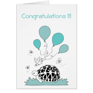 Congratulations Card (tortoise w. blue balloons)