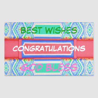 CONGRATULATIONS  - Chinese Lucky Pattern Rectangular Sticker