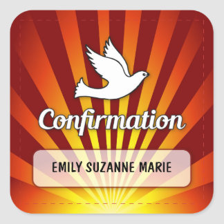 Congratulations Confirmation Dove with Gold, Red Square Sticker