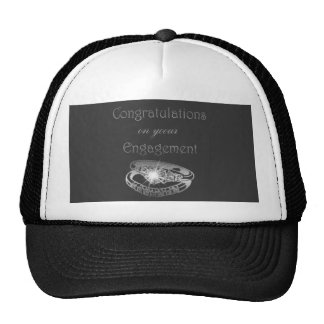 Congratulations Engagement Rings Art Trucker Hats