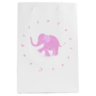 Congratulations - Gorgeous Pink Baby Elephant Medium Gift Bag