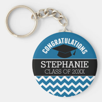 Congratulations Graduate - Blue Black Graduation Basic Round Button Key Ring