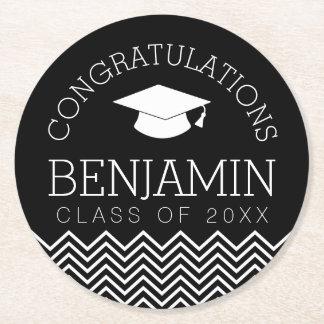 Congratulations Graduate Graduation CAN EDIT COLOR Round Paper Coaster