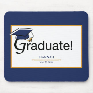 Congratulations Graduate, Hat, Tassel, Blue, Gold Mouse Pad