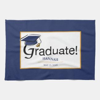 Congratulations Graduate, Hat, Tassel, Blue, Gold Tea Towel