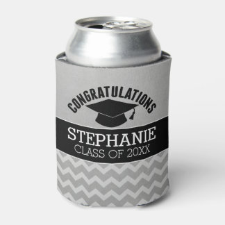 Congratulations Graduate - Silver Black Graduation Can Cooler