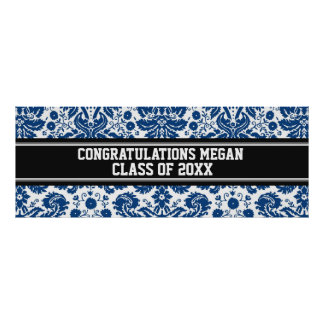 Congratulations Graduation Custom Name Banner Blue Poster