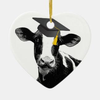Congratulations Graduation Funny Cow in Cap Ceramic Heart Decoration