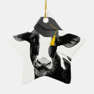 Congratulations Graduation Funny Cow in Cap Ceramic Star Decoration
