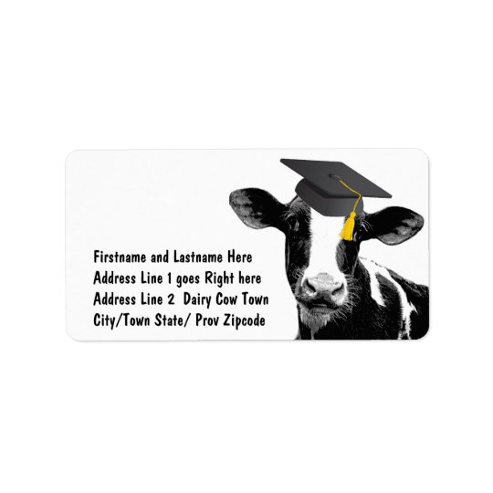 Congratulations Graduation Funny Cow in Cap Label