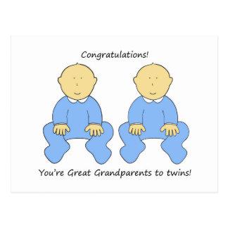 Congratulations Great grandparents to twin boys. Postcard