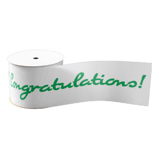 Congratulations Green Casual Script Grosgrain Ribbon