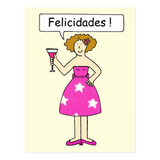 Congratulations in Spanish, lady on a cake. Postcard