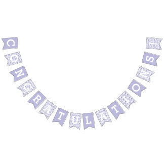 Congratulations Lavender Leaves Pattern Bunting