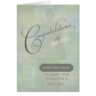 Congratulations Masters Degree Graduate w-name Card
