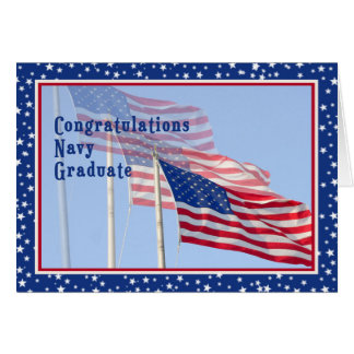 Congratulations Navy Graduate Card with Flags