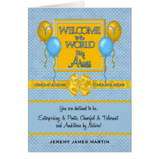 Congratulations New Baby Boy Aries Zodiac Greeting Card