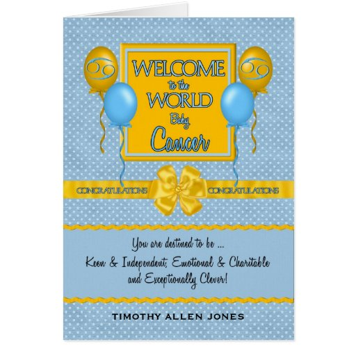 Congratulations New Baby Boy Cancer Zodiac Cards