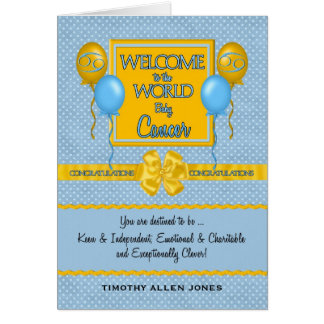Congratulations New Baby Boy Cancer Zodiac Greeting Card