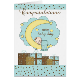 Congratulations New Baby Boy Card With Sleeping Ba