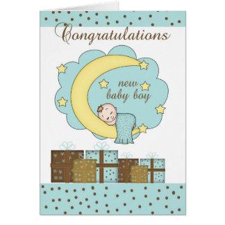 Congratulations New Baby Boy Card With Sleeping Ba