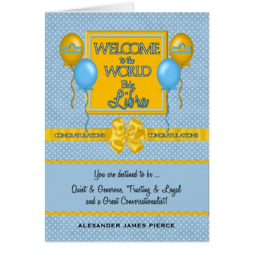 Congratulations New Baby Boy Libra Greeting Card