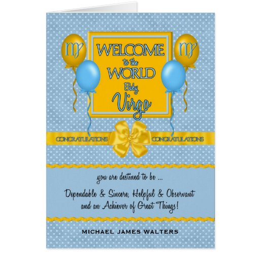 Congratulations New Baby Boy Virgo Card