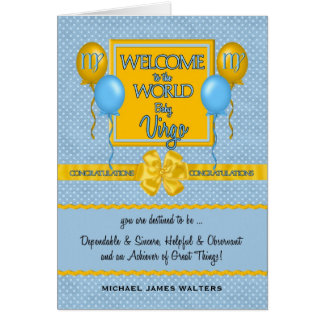 Congratulations New Baby Boy Virgo Greeting Card