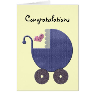 Congratulations New Baby Boy with Blue Pram Art Greeting Card