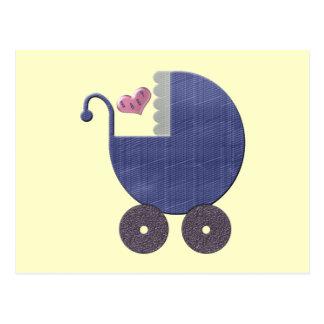 Congratulations New Baby Boy with Blue Pram Art Postcard