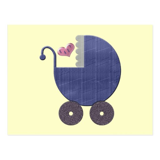 Congratulations New Baby Boy with Blue Pram Art Post Cards