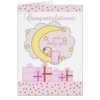 Congratulations New Baby Girl Card With Sleeping B