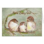Congratulations New Baby Girl Cute Bird Family
