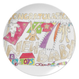 Congratulations - New Baby. Plate