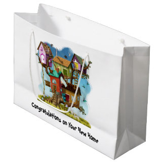 Congratulations New Home Sweet Tiny Tree Houses Large Gift Bag