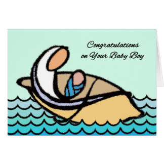 Congratulations on Baby Boy, Mother, Son in Boat Greeting Card