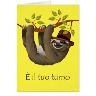 Congratulations on Retirement in Italian, Sloth Greeting Card