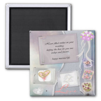 congratulations on wedding day square magnet