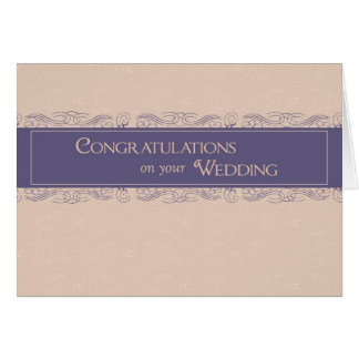 Congratulations on Wedding, Plum and Peach Colors Card