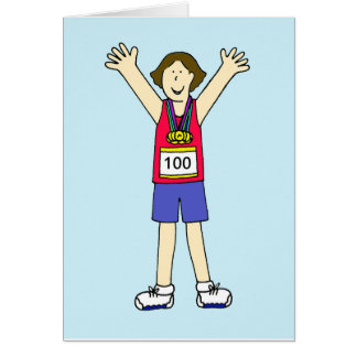 Congratulations on your 100th marathon for a lady. card