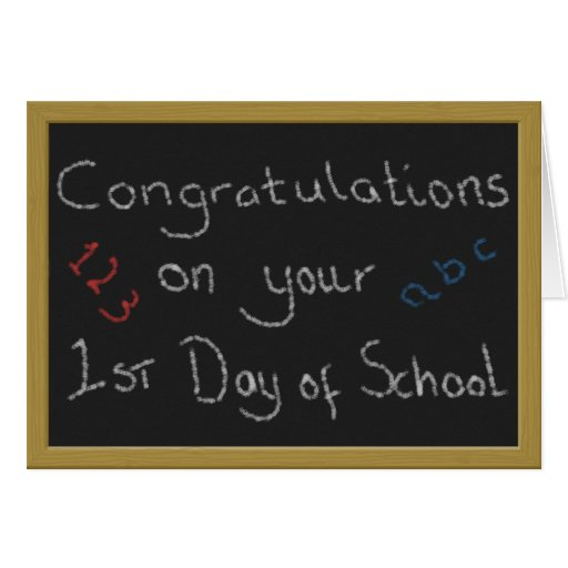 Congratulations on Your 1st Day of School Greeting Card