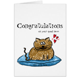 Congratulations on your good news cat illustration card