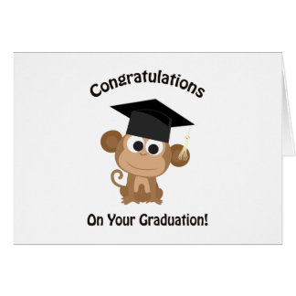 congratulations on your graduation monkey card