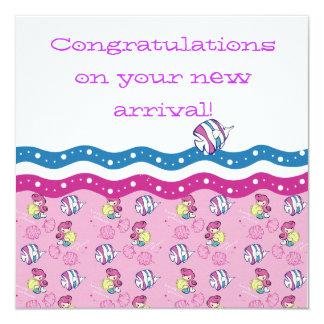 "Congratulations on your new arrival! 5.25"" square invitation card"