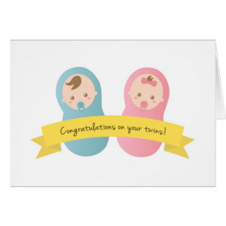 Congratulations on your twins! Baby Boy and Girl Greeting Card
